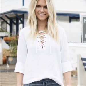 CLOTH & STONE-  White Bell Sleeve Lace Up Top